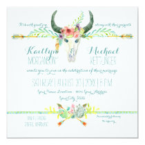 BOHO Desert South West Wood Floral Cow Skull Arrow Invitation