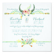 BOHO Desert South Western Floral Cow Skull Arrows Invitation
