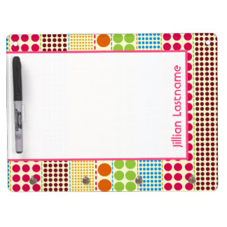 Boho Dots Dry Erase Board With Hooks