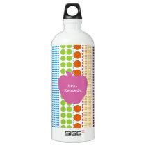 Boho Dots Pink Apple Teacher Aluminum Water Bottle