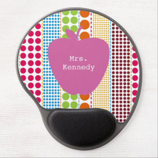 Boho Dots Pink Apple Teacher Gel Mouse Pad