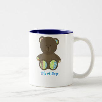 Boho Dots Stuffed Bear Baby Shower It's A Boy Two-Tone Coffee Mug