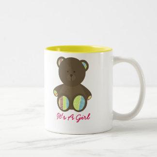 Boho Dots Stuffed Bear Baby Shower It's A Girl Two-Tone Coffee Mug