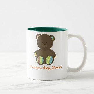 Boho Dots Stuffed Bear Baby Shower Two-Tone Coffee Mug