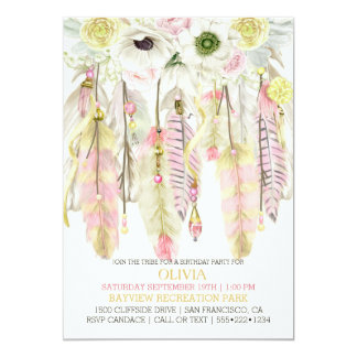 Boho Dream Catcher Feathers Crystals Pink Yellow Card