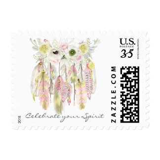 Boho Dream Catcher Feathers Flowers Yellow Pink Postage