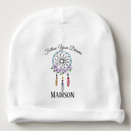 Boho Dream Catcher Floral Flower Feathers Tribal Baby Beanie