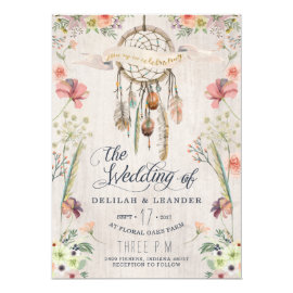 Boho Dream Catcher Floral Wedding Invitation