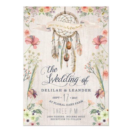 Zazzle Wedding Invitations | Boho Dream Catcher Floral Wedding Invitation Zazzle Com