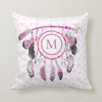 Boho Dream Catcher Native Monogram Throw Pillow