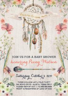 Rustic baby shower invitations zazzle boho dream catcher rustic baby shower invitations filmwisefo