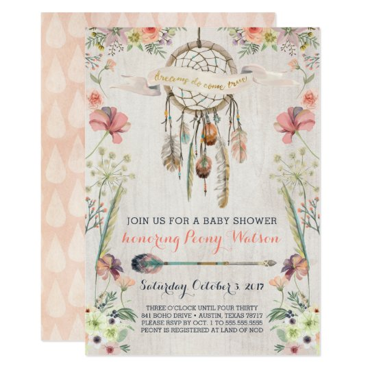 Boho Dream Catcher Rustic Baby Shower Invitations Zazzle Com