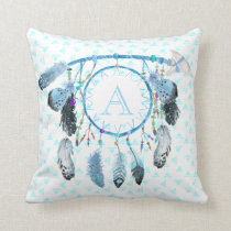 Boho Dream Catcher Tribal Monogram Throw Pillow
