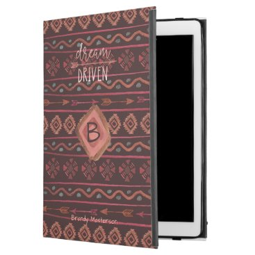Professional Business Boho Dream Driven Tribal Pattern, Monogram & Name iPad Pro Case
