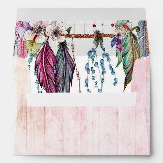 Boho Dreamcatcher & Feathers Pink Wedding Monogram Envelope