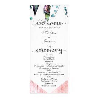 Boho Dreamcatcher & Feathers Pink Wedding Program