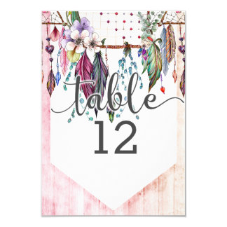 Boho Dreamcatcher & Feathers Table Number Seating