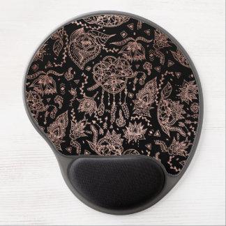 Boho dreamcatcher rose gold black illustration gel mouse pad