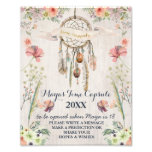 Boho Dreamcatcher Rustic Baby Shower Time Capsule Photo Print