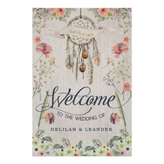 Boho Dreamcatcher Welcome to the Wedding of Sign
