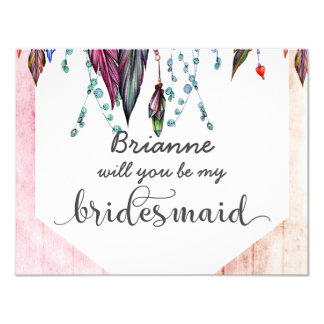 Boho Dreamcatcher Will You Be My Bridesmaid Card