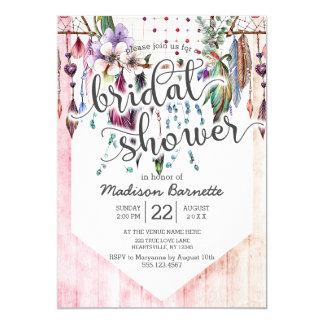 Boho Dreamcatcher Wood Bridal Shower Invitation