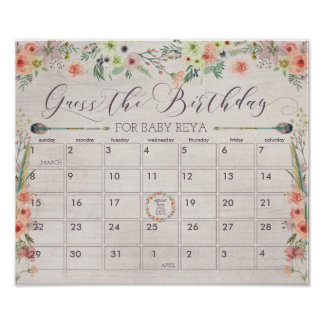 Boho Due Date Calendar Sign Baby Shower Game Poster