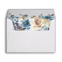 Boho Dusty Blue Beige Rustic Floral 5x7 Wedding Envelope