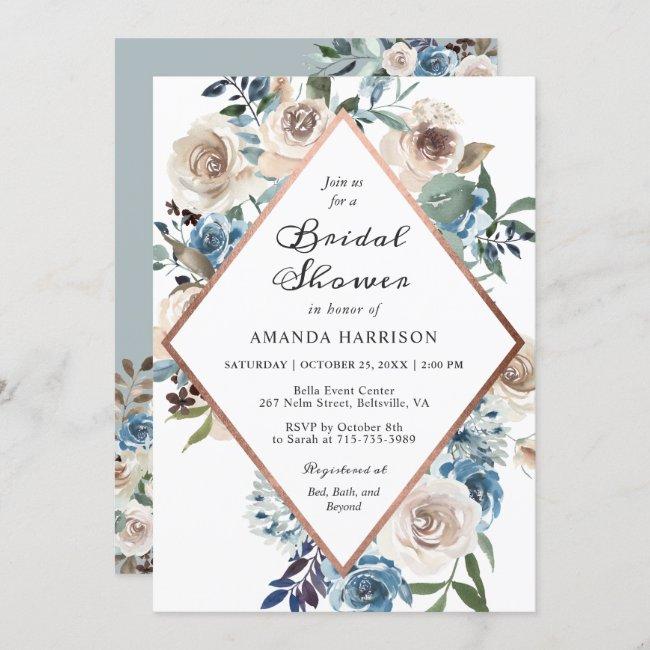 Boho Dusty Blue Floral Rose Gold Bridal Shower Invitation