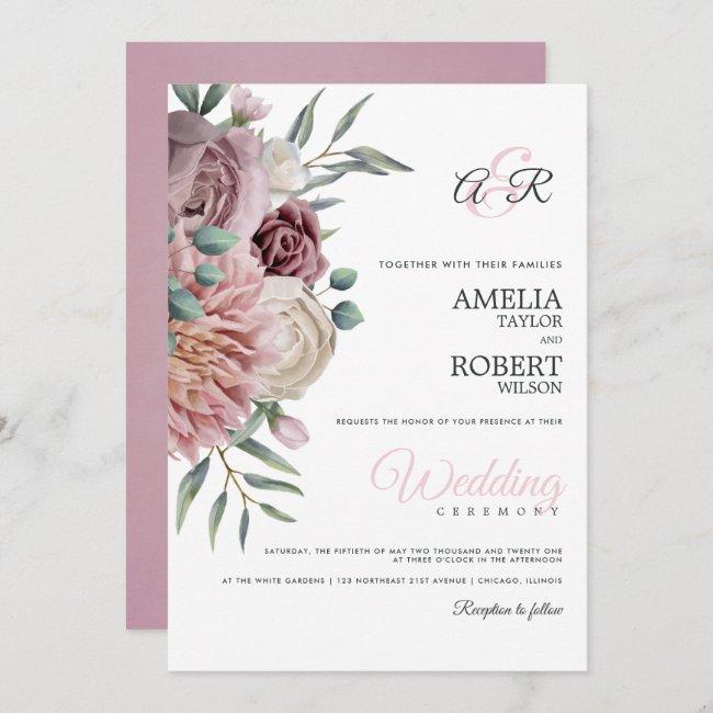 Boho Dusty Rose Floral Invitation