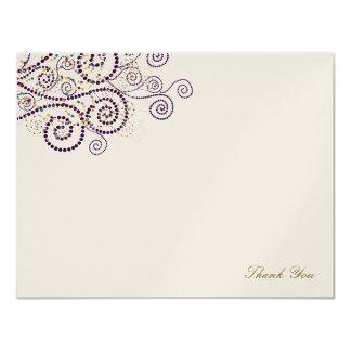 Boho Elegant Purple Spirals Wedding Thank You Card