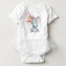Boho Elephant Baby Tutu Romper 1st Birthday Outfit