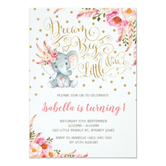 Boho Elephant Birthday Invitation Dream Big Floral