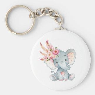 Boho Elephant Pink Floral Keychain Birthday Favors