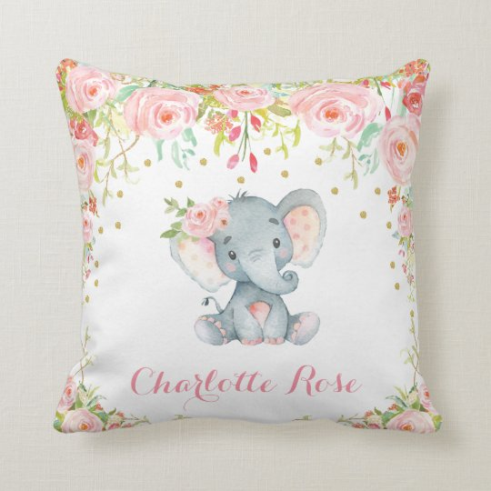 Boho Elephant Pink Gold Baby Nursery Decor Throw Pillow