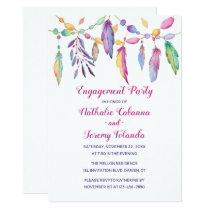 Boho Engagement Party Feathers Native American Invitation