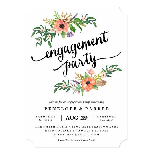 boho engagement party invitation zazzlecom