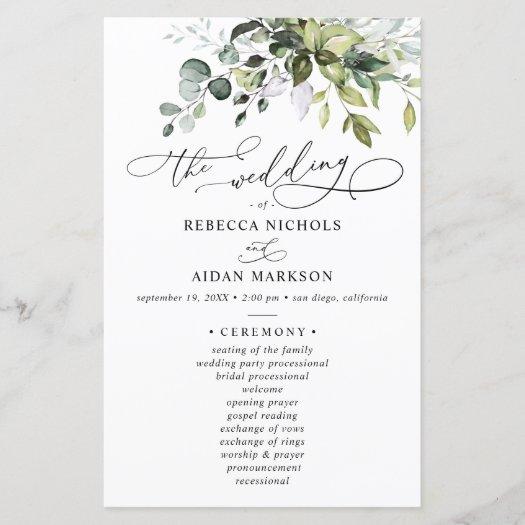 Boho Eucalyptus Greenery Wedding Ceremony Program