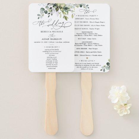 Boho Eucalyptus Greenery Wedding Ceremony Program Hand Fan