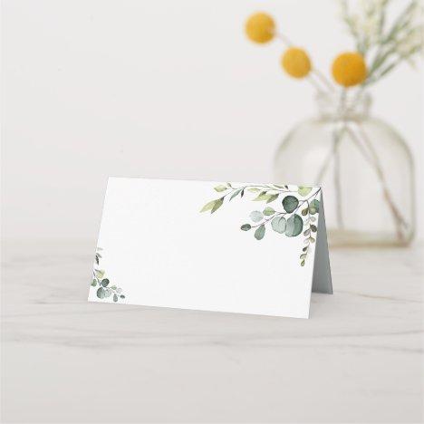 Boho Eucalyptus Greenery Wedding Folded Place Card