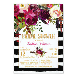 Boho Fall Floral Arrow Stripe Bridal Shower Card