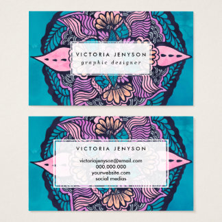 Boho fall floral watercolor hand drawn mandala business card