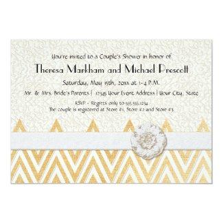 BOHO Faux Burlap n Lace cHEVRON modern mod style 5x7 Paper Invitation Card