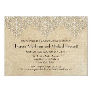 BOHO Faux Burlap n Lace gypsy modern mod greyed 5x7 Paper Invitation Card