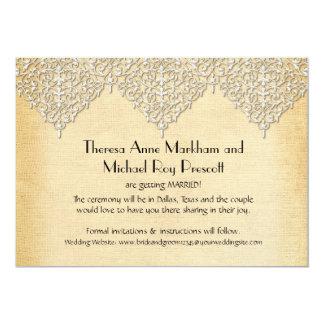 BOHO Faux Burlap n Lace gypsy modern mod style 5x7 Paper Invitation Card