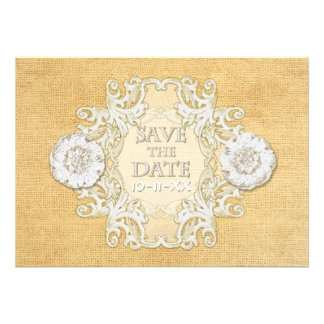 BOHO Faux Burlap n Lace gypsy modern mod style Personalized Announcements