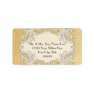 BOHO Faux Burlap n Lace gypsy modern mod style Personalized Address Labels