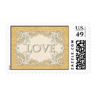BOHO Faux Burlap n Lace gypsy modern Mod style Postage Stamp