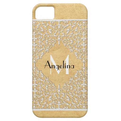 BOHO Faux Burlap n Lace gypsy Modern Style Mod iPhone 5 Cases