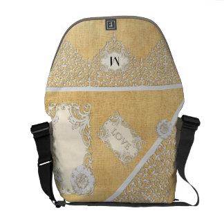 BOHO Faux Burlap n Lace gypsy Modern Style Mod Messenger Bag
